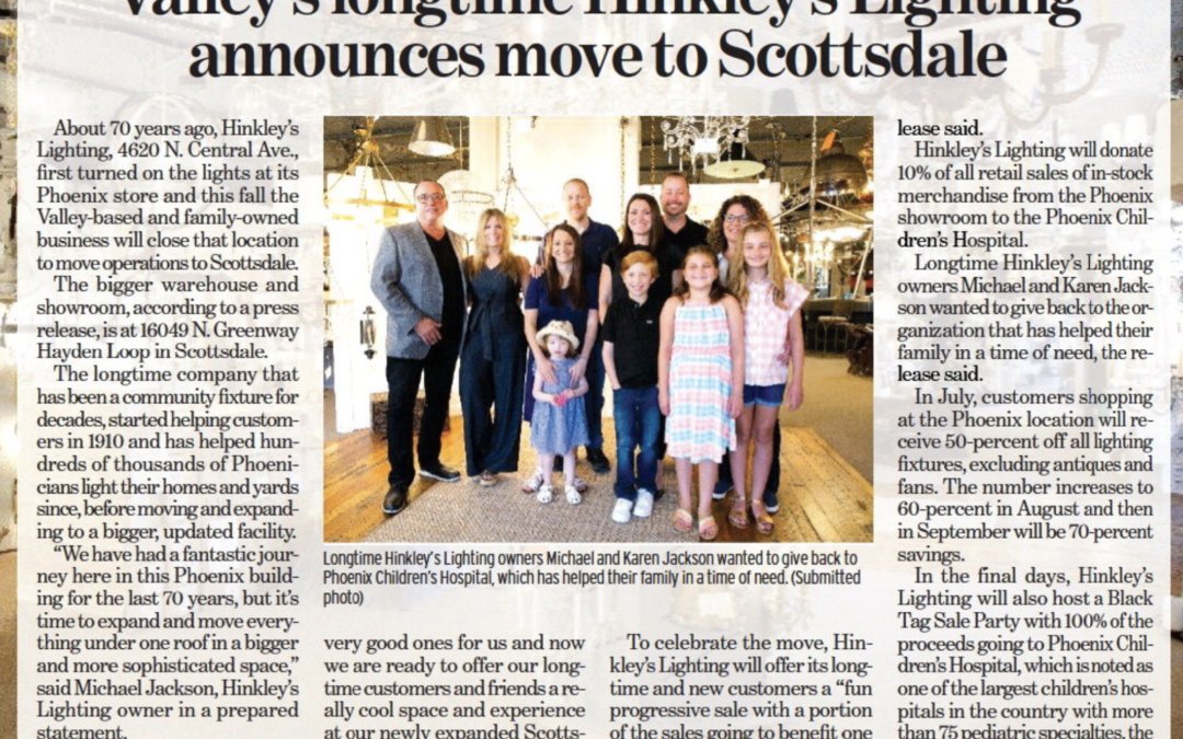 Valley's Longtime Hinkley's Lighting Announces Move to Scottsdale